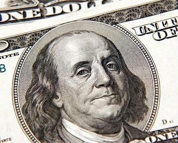 Ben Franklin on a one hundred dollar bill