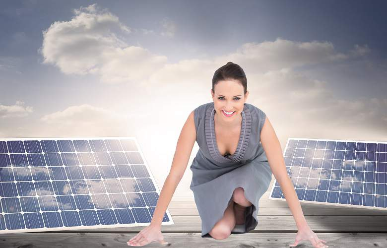 solar energy panels and woman