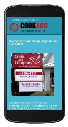 appointment scheduler on cell phone