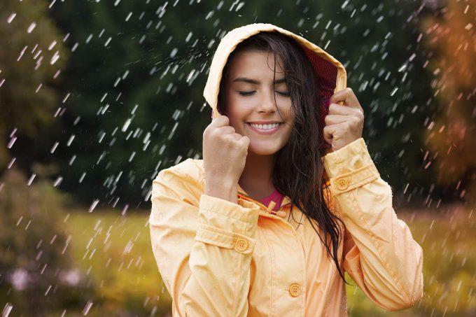 woman in rain storm