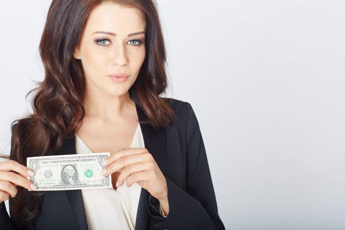 woman with dollar