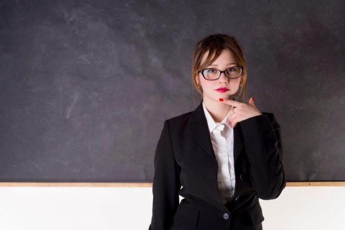 woman at chalk board